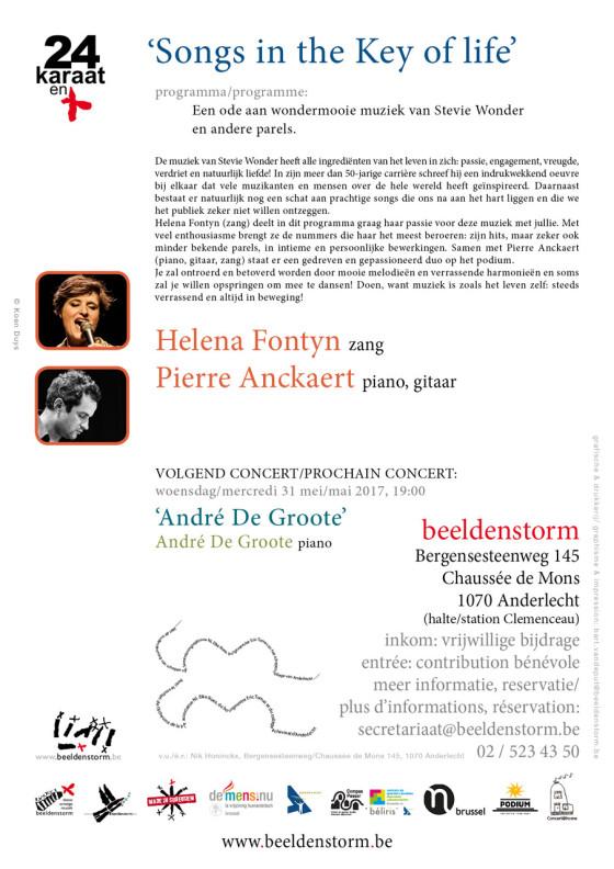 """""""Songs in the Key of life"""" • Helena Fontyn (zang) en Pierre Anckaert (piano, gitaar)"""