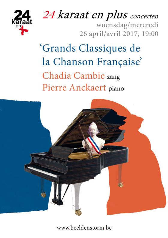 """24 karaat & plus concert: """"Grands Classiques de la Chanson Française"""" • Chadia Cambie en Pierre Anckaert"""