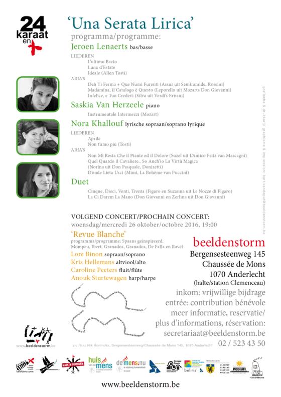 """24 karaat & plus concert: """"Una Serata Lirica"""" door Nora Khallouf, Jeroen Lenaerts en Saskia Van Herzeele"""