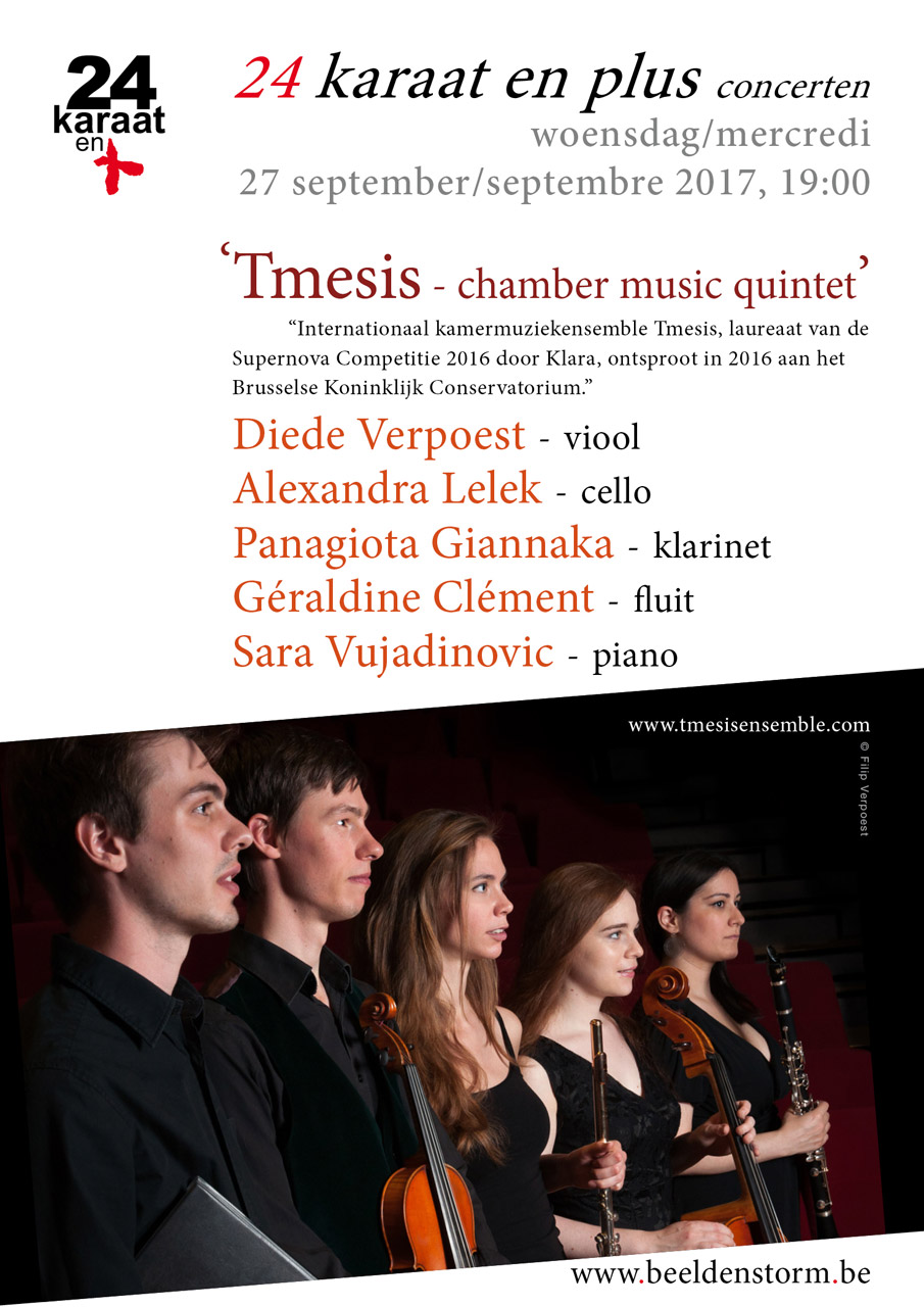 "24 karaat & plus concert: ""Tmesis Chamber Music Quintet"" (fluit, klarinet, viool, cello en piano)"