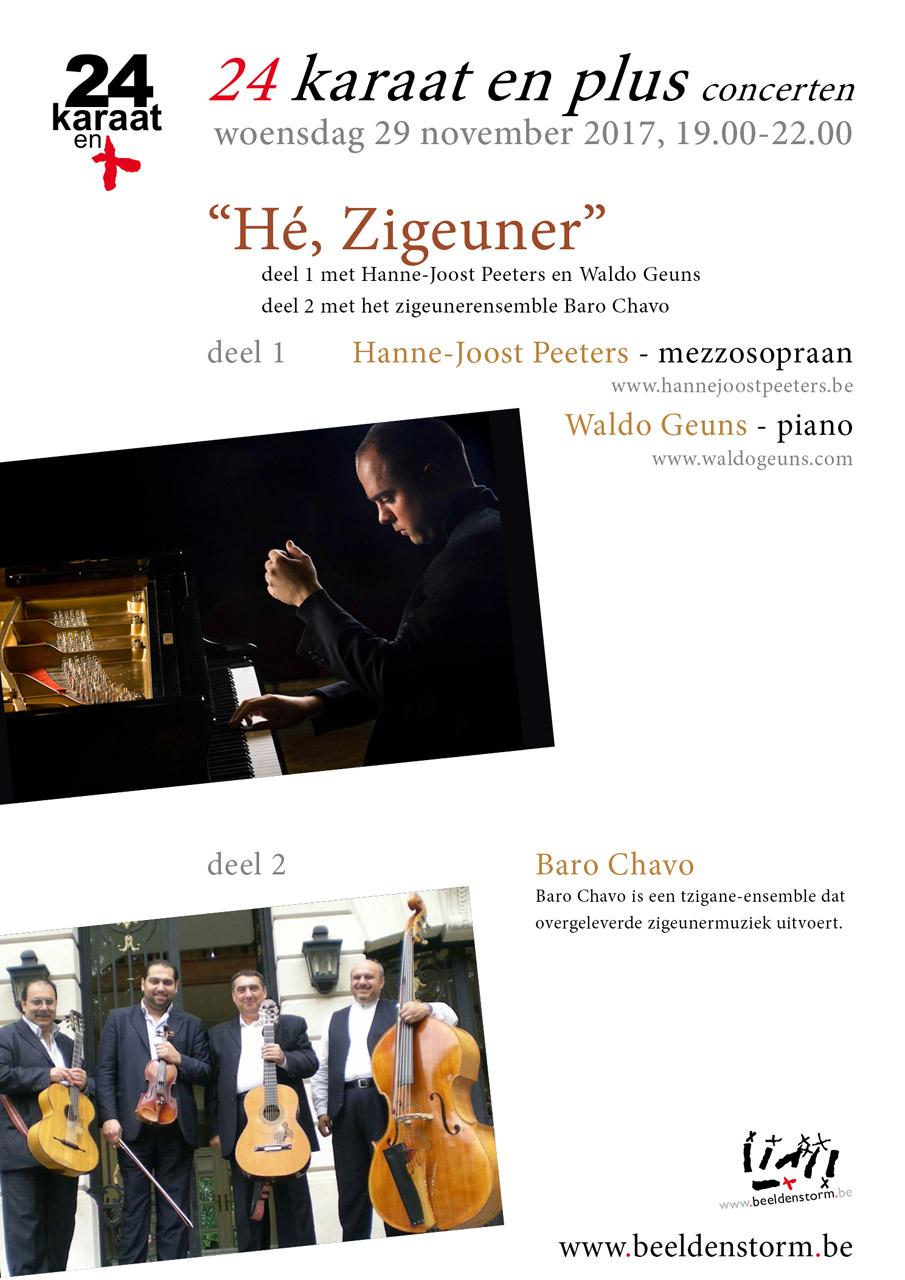 """24 karaat & plus concert: """"Hé, Zigeuner"""" met Hanne-Joost Peeters (mezzosopraan) en Waldo Geuns (piano) en het zigeunerensemble """"Baro Chavo""""."""