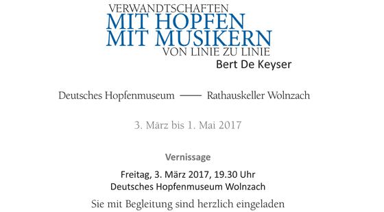 """tentoonstelling: Bert De Keyser """"Verwandtschaften: MIT HOPFEN - MIT MUSIKERN - Von linie zu linie"""""""