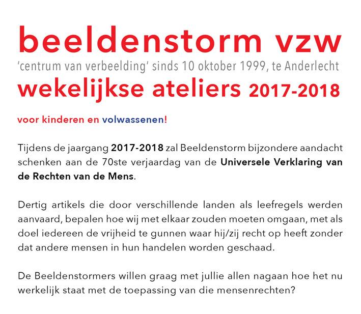 wekelijkse ateliers 2017-2018 voor kinderen en volwassenen