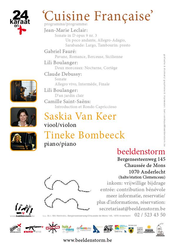 """24 karaat & plus concert: """"Cuisine Française"""" door Saskia Van Keer (viool) en Tineke Bombeeck (piano)"""