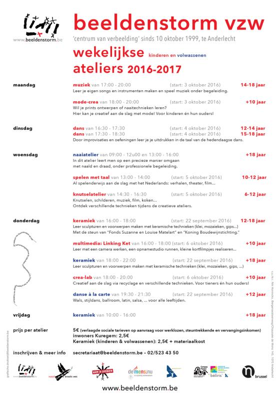 wekelijkse ateliers 2016-2017 voor kinderen en volwassenen