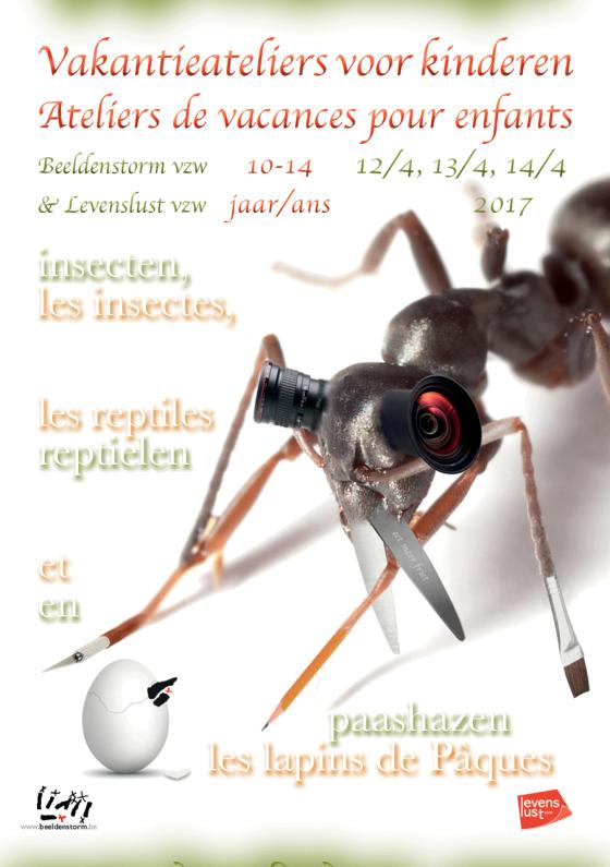 """Vakantieateliers voor kinderen / Ateliers de vacances pour enfants: """"Insecten, reptielen en paashazen"""" / """"Les insectes, les reptiles et les lapins de Pâques"""""""